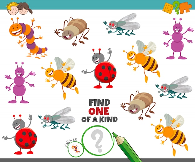 One of a kind game for children with insects