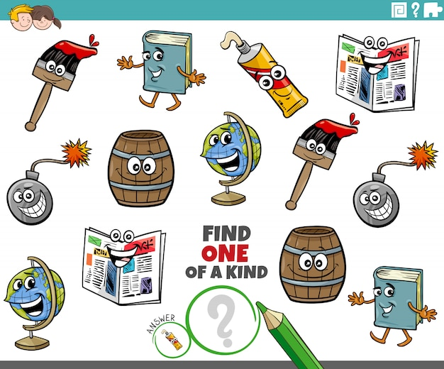 One of a kind game for children with object characters
