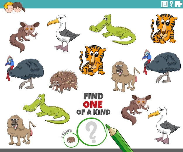 One of a kind game for children with wild animals
