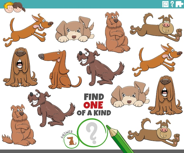 One of a kind game for kids with cartoon dogs