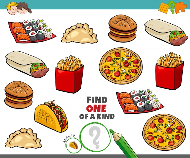 One of a kind game for kids with food objetcs