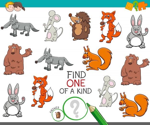 One of a kind game with cartoon animal characters