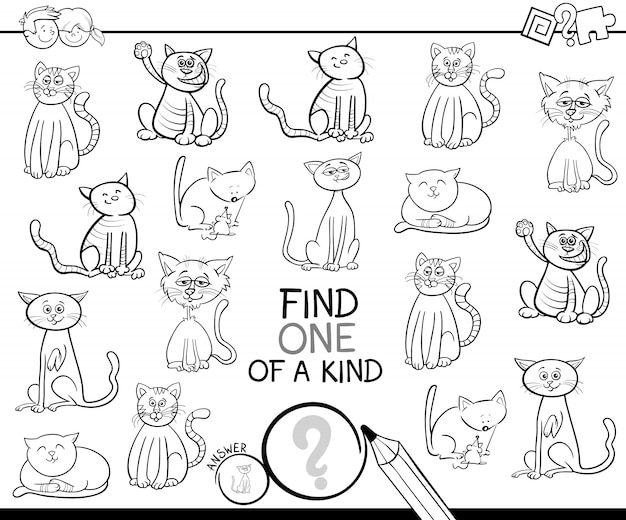 One of a kind game with cats color book