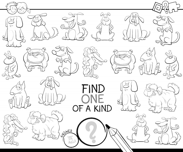 One of a kind game with dogs color book