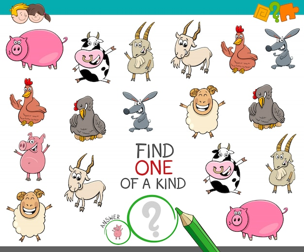 One of a kind game with farm animal characters
