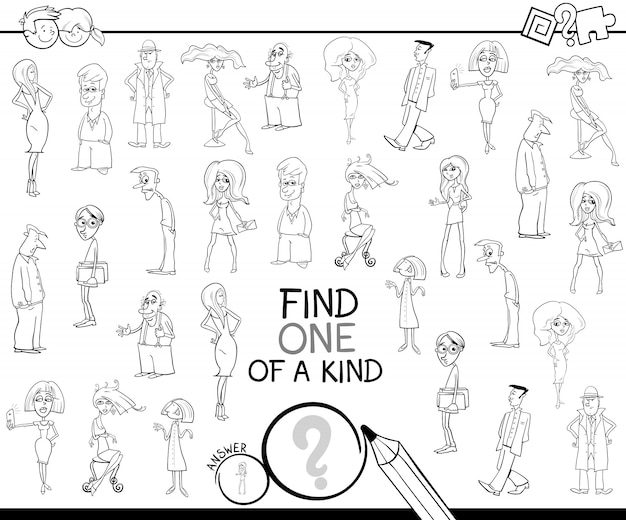 One of a kind game with people color book