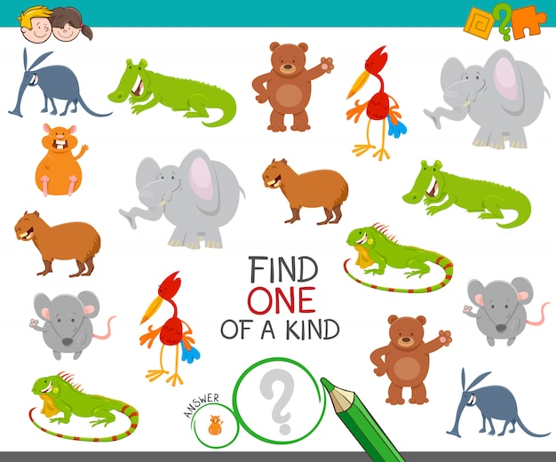 One of a kind picture educational game with animals