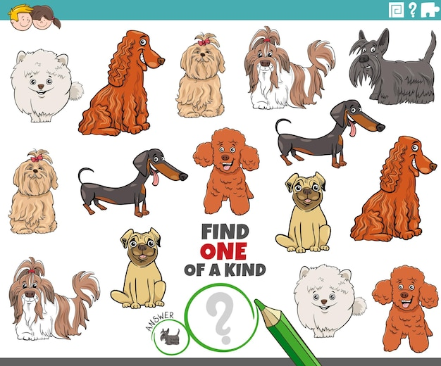 One of a kind picture educational game with cartoon purebred dog characters