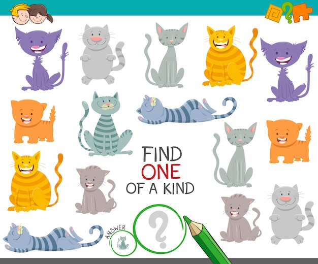 One of a kind picture educational game with cats