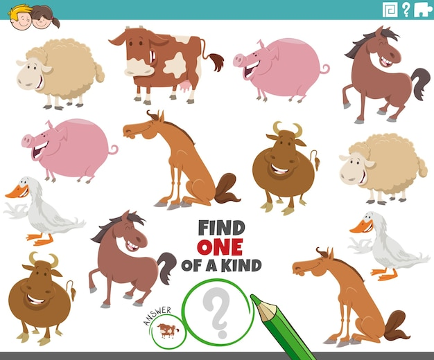 One of a kind task for children with cartoon farm animals