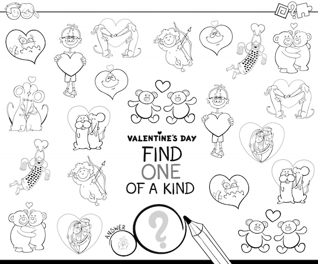 One of a kind valentines character color book