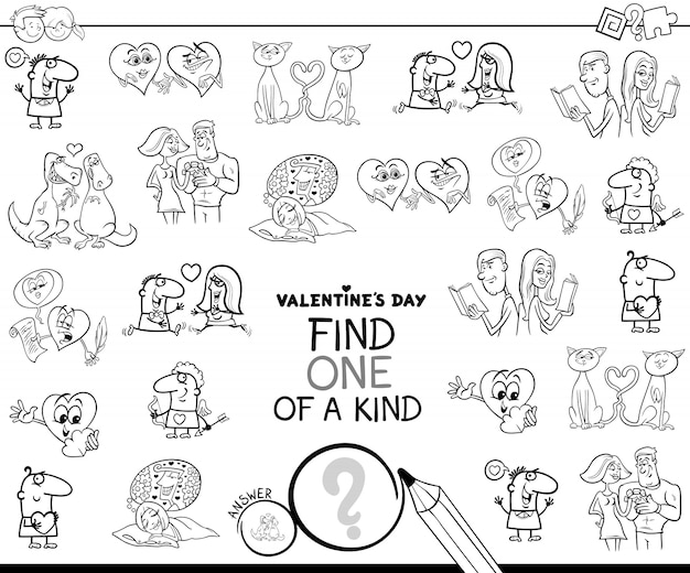 One of a kind valentines clip art color book