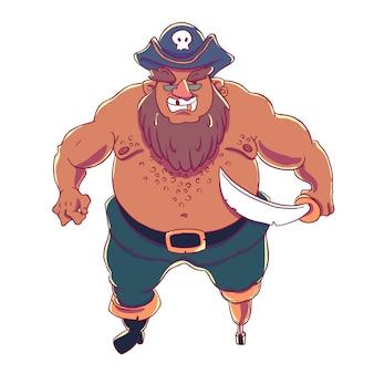 Одноногий бородатый пират в взведенной шляпе с черепом