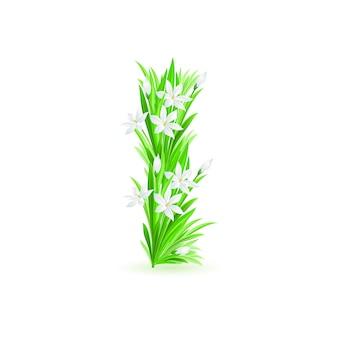 봄 꽃 알파벳의 한 글자-흰색 배경에 i. 그림
