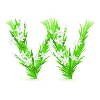 春の花のアルファベットの1文字-w。白い背景のイラスト