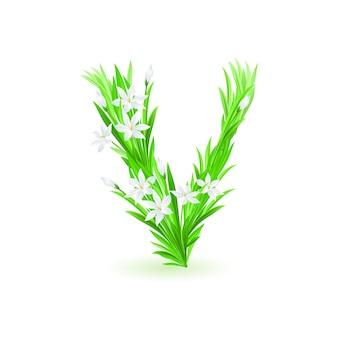 One letter of spring flowers alphabet