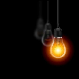 1つの電球が光っています。黒の背景のイラスト。リーダーシップの概念