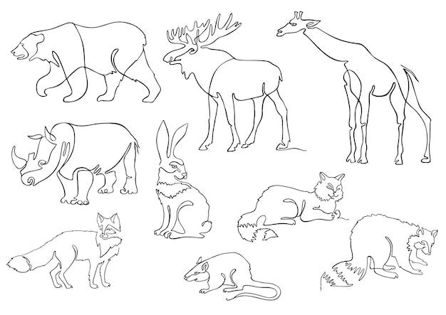 一本線の動物はロゴを設定します動物の連続線画ベクトル図