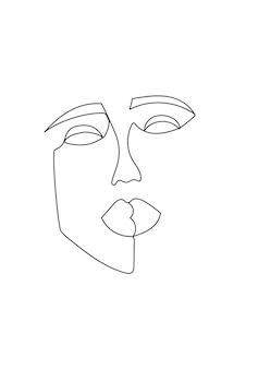한 라인 아트 현대 여성 초상화입니다. 추상 여자 얼굴 한 선 그리기입니다. 추상적인 형태의 현대 여성 초상화. 벡터 일러스트 레이 션.