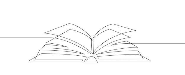 한 줄짜리 책. 학습 및 공부, 도서관 개념입니다. 연속 라인 아트 벡터 교육 및 지식 스케치 선형 그림. 페이지 미니멀리즘 디자인 드로잉이 있는 펼친 책