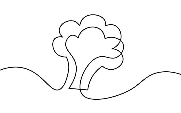 한 줄 브로콜리 줄기. 흑백 흑백 연속 단일 라인 아트. 채식주의 자연 유기농 시장 그림 스케치 개요 그리기.