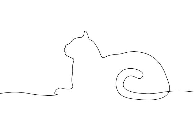 Однострочный элемент кошки. черно-белое монохромное непрерывное однострочное искусство. наброски эскиза иллюстрации клиники домашних животных домашних животных.