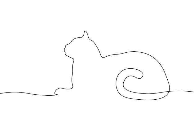 One line cat element. black and white monochrome continuous single line art. animal domestic pet clinic illustration sketch outline drawing.