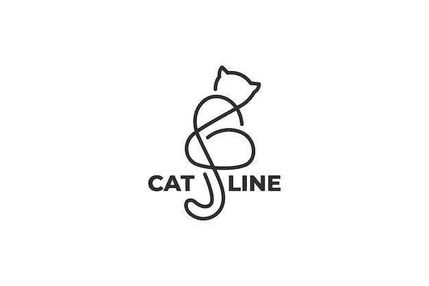 ワンライン猫イラストロゴ