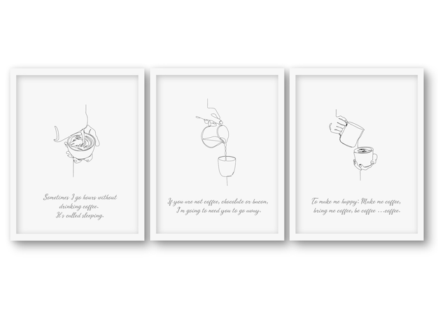 One line coffee set, poster stock illustration