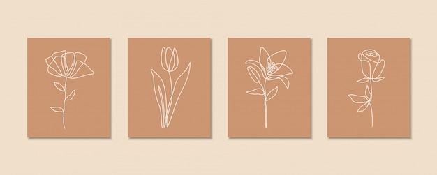 꽃 세트, 단일 선화 아트, 열대 잎, 식물 분리, 심플 아트 디자인, 추상 라인, 프레임, 패션 디자인, 웹 이미지, 포장의 한 줄 연속