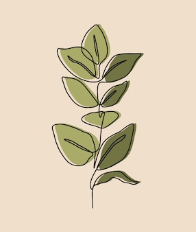 꽃의 한 줄 연속, 선화 예술, 열대 잎