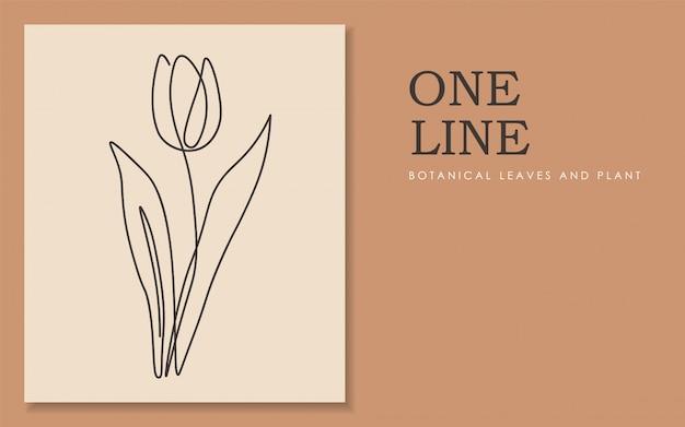 꽃의 한 줄 연속, 단일 선화 예술, 열대 잎, 고립 된 식물 식물, 단순한 예술 디자인, 추상 라인, 프레임, 패션 디자인, 웹 이미지, 포장