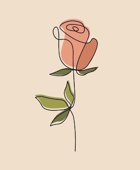 Одна линия непрерывного цветка, искусство рисования одной линии