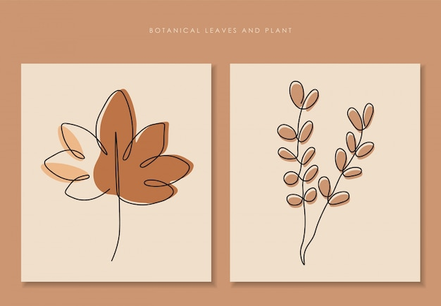 Одна линия непрерывных листьев, искусство рисования одной линии, тропические листья, набор ботанических растений