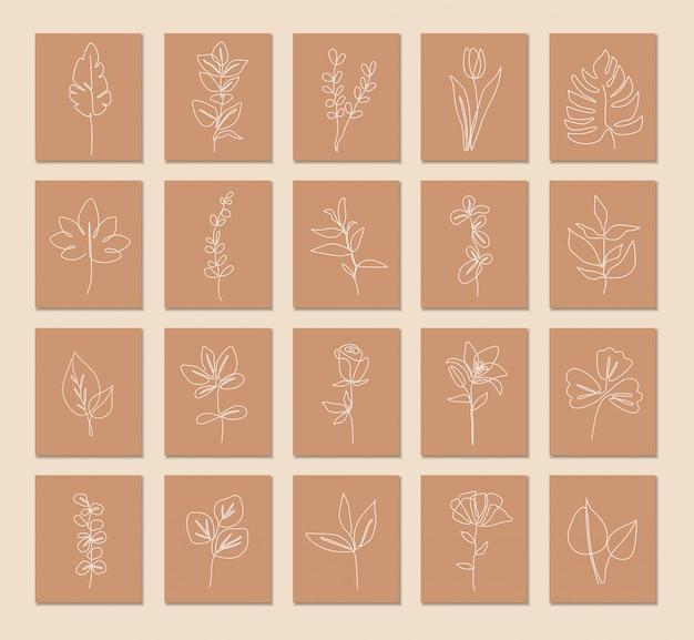 식물 세트, 단일 선화 아트, 열대 잎, 식물 식물 분리, 심플 아트 디자인, 추상 라인 개요, 프레임, 패션 디자인, 포장의 한 줄 연속