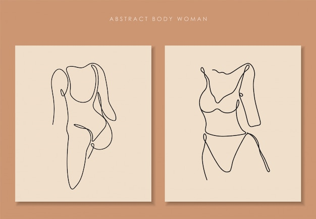 섹시한 몸매 세트, 단 선화 예술, 여자 몸 격리, 단순한 예술 디자인, 추상 선, 프레임 실루엣의 한 줄 연속