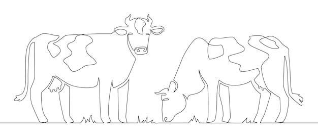 Коровы одной линии. молоко коровье животное, домашний скот и мясо говядины и ферма телят непрерывной линии иллюстрации векторной концепции. иллюстрация корова, ферма млекопитающих, одна линия искусства