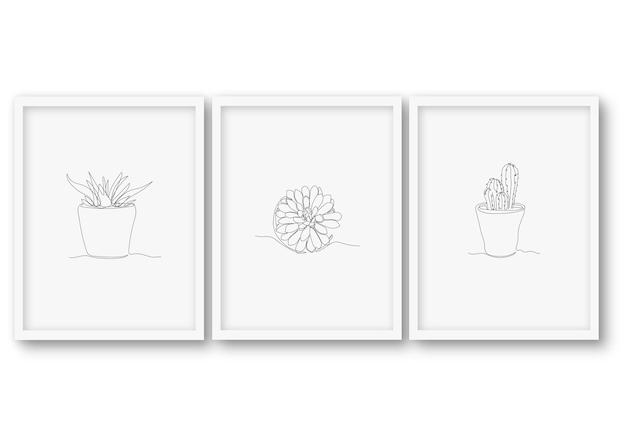한 줄 귀여운 식물 포스터 재고 일러스트
