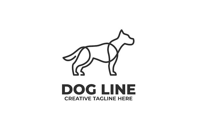 One line dog illustration logo