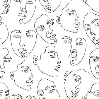 One line drawing abstract face seamless pattern modern minimalism art aesthetic contour