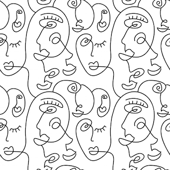 One line drawing abstract face seamless pattern. modern minimalism art, aesthetic contour