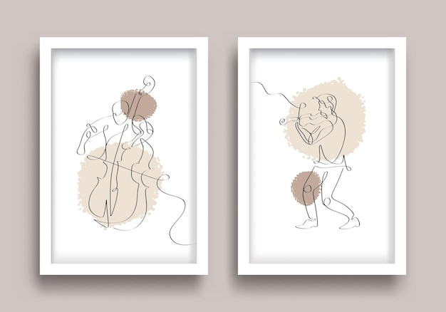 One line drawing cello and violinist music poster set