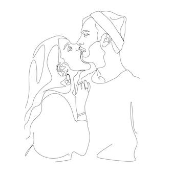 Рисование одной линии пара целует лицо иллюстрации в стиле арт
