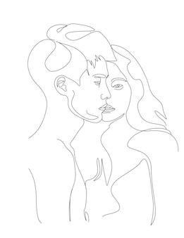 線画スタイルの顔のイラストにキスする1つの線画カップル