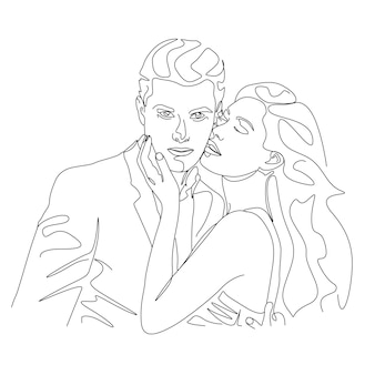 One line drawing couple kissing face illustration in line art style