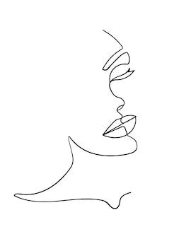 1本の線画面。抽象的な女性の肖像画。現代のミニマリズムアート。 -ベクトルイラスト