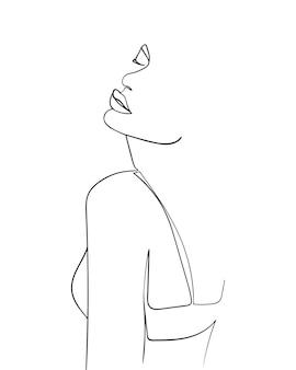 하나의 선 그리기 얼굴과 몸. 현대 미니멀리즘 예술입니다. - 벡터 일러스트 레이 션