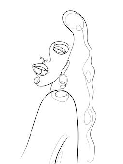 한 줄로 그리는 얼굴과 머리카락. 추상 여자 초상화입니다. 현대 미니멀리즘 예술입니다. - 벡터 일러스트 레이 션