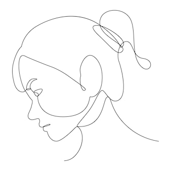 Рисование одной линии смотрит вниз лицом. искусство рисования людей.