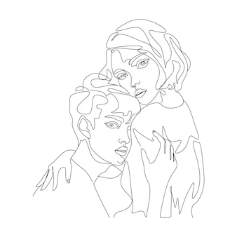 線画スタイルでミニマリストのカップルの顔のイラストを描く一本線